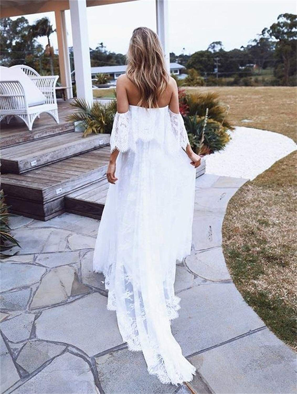 1fd9162745a9b DreHouse Women's Vintage Lace Off-The-Shoulder Beach Wedding Dresses  Bohemian Bridal Gowns at Amazon Women's Clothing store: