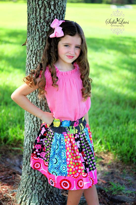 Pink Fig Jazzy Kitty Cat StripWork Twirly Skirt Girls Sewing Kit sizes 6 mo - 10 years by AllegroFabrics