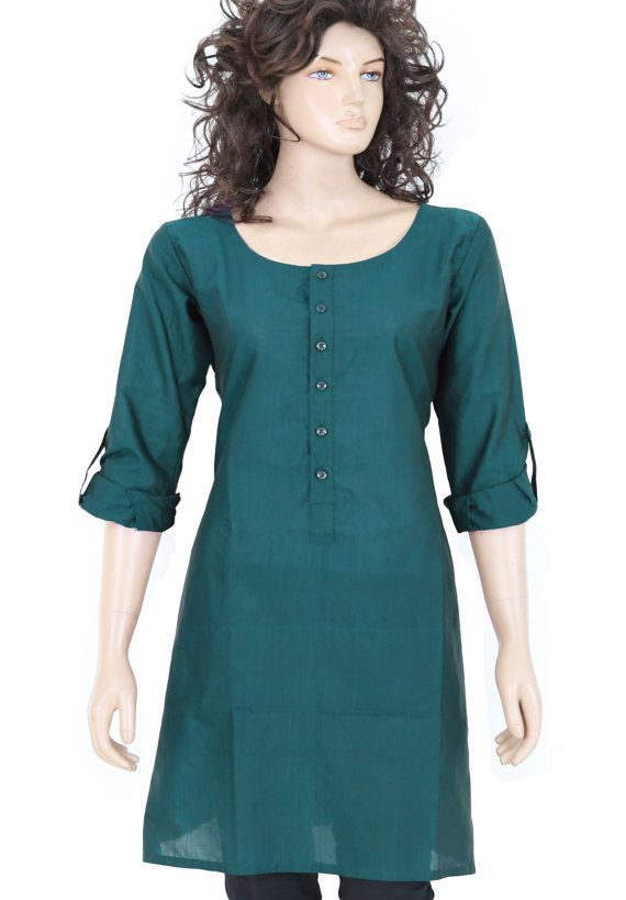 46ea6fa54 Indian Ethnic Dark Teal Plain Cotton Short Top - Front buttons - Full  sleeves