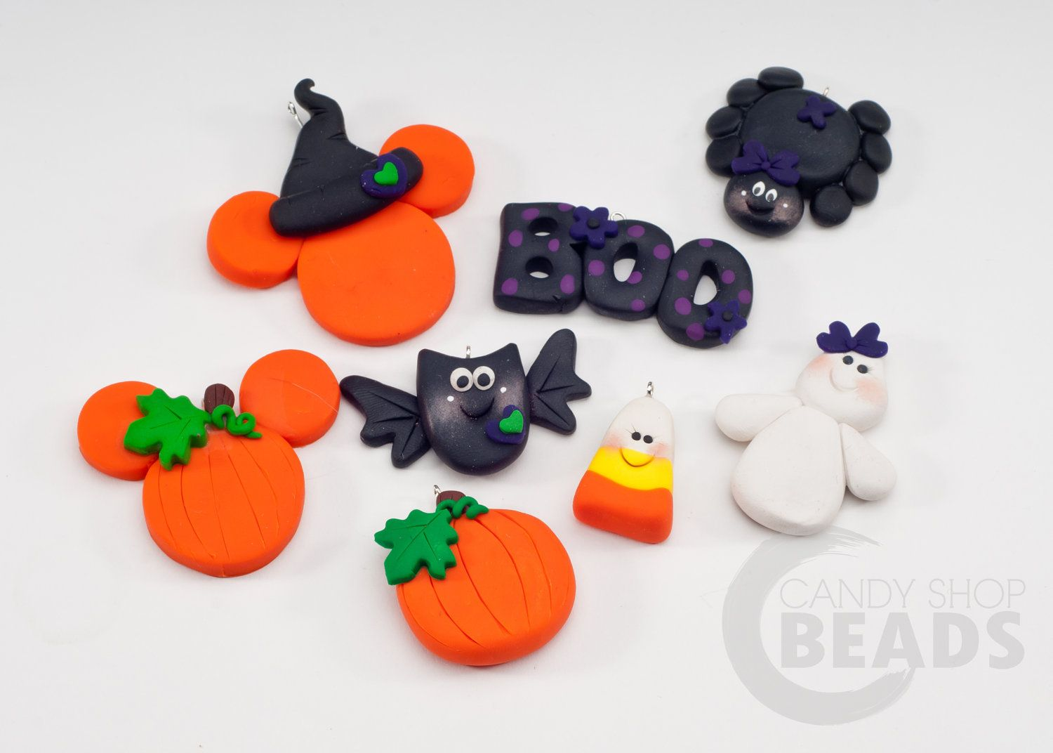 polymer clay bow centers and pendants halloweencandyshopdrops