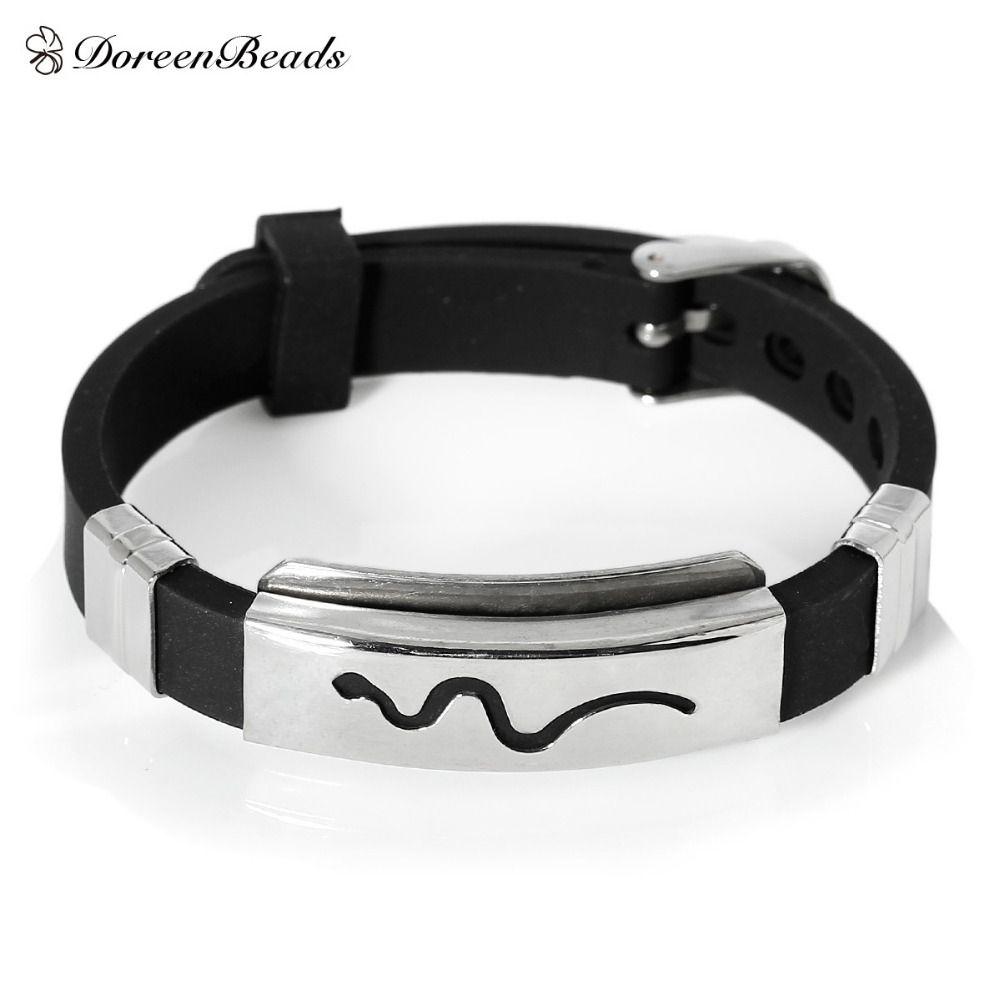 DoreenBeads Mannen Sieraden Rvs Siliconen Rubber Slippy Strip Armbanden Bangle Silver Tone Zwart gesneden 22.7 cm, 1 Stuk