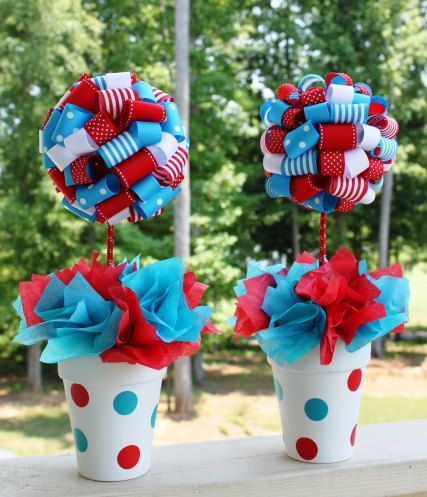 Dr Suess Ribbon Topiary In Red And Turquoise Thing 1 Thing 2