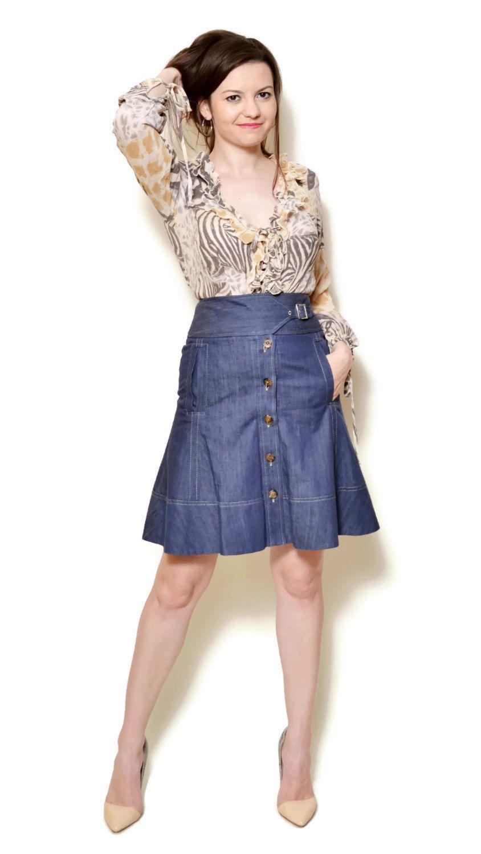 Vintage Style Skirt Women Denim Skirt High Waist Skirt Party Blue Midi Skirt Minimalist Skirt Denim Retro Skirt Bohemian Clothing