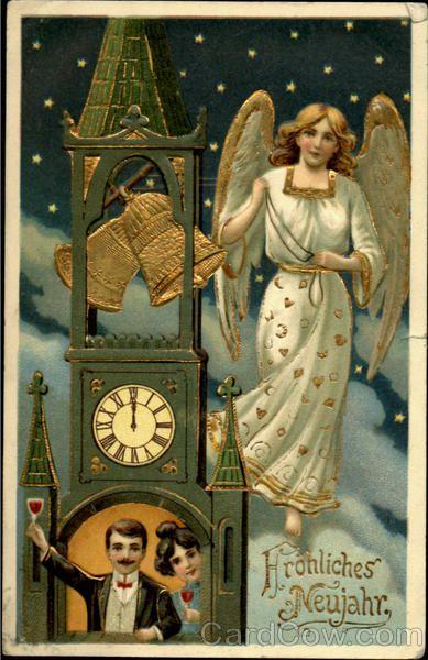new year card 1908 germany angel clock