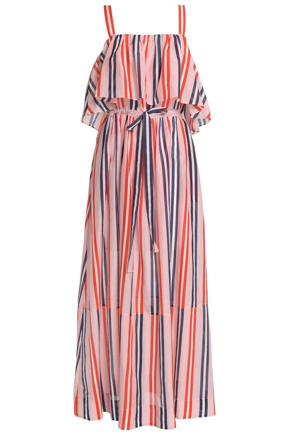 DIANE VON FURSTENBERG Striped cotton and silk-blend maxi dress