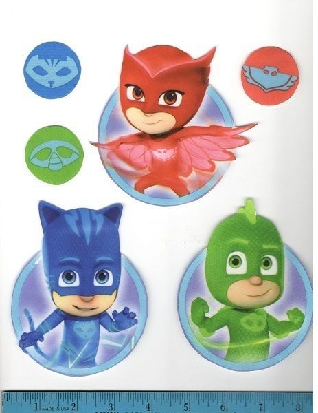 pj masks fabric wall stickers 9pcs peel & stick handmade catboy