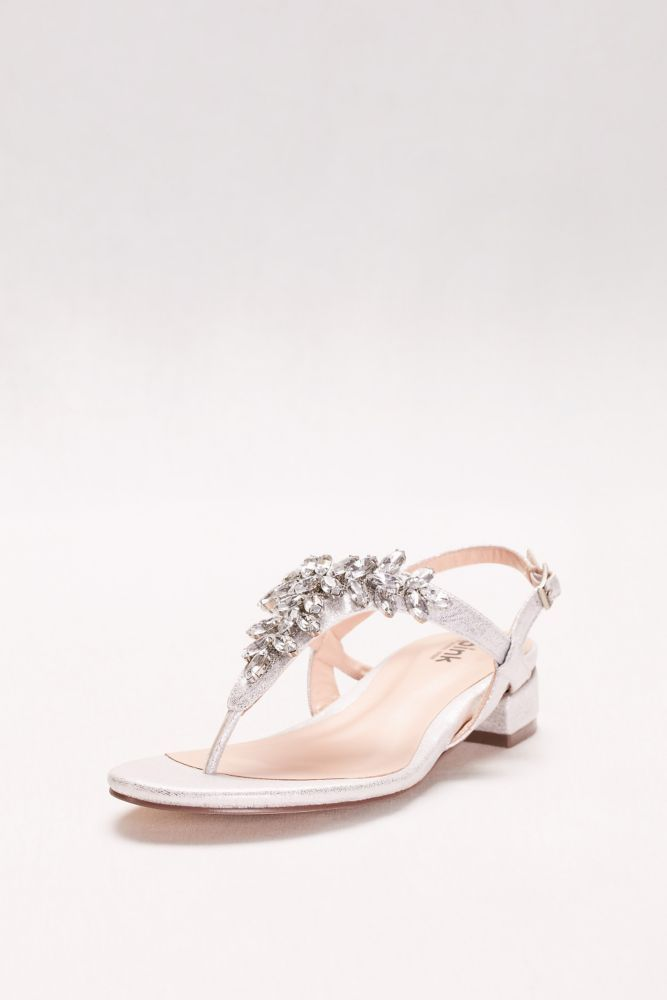 4137c77b6 Glitter Thong Sandals with Low Block Heel Style FLAME