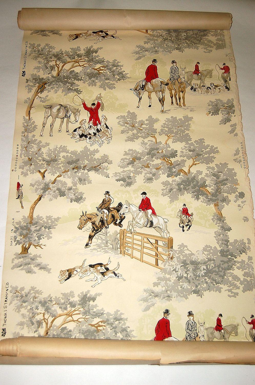 Antique Fox Hunting scene Wallpaper Thomas Strahan 6652