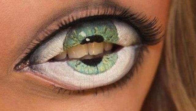 10/29/14 Makeup illusion: lips that are believe to be an eye ball.