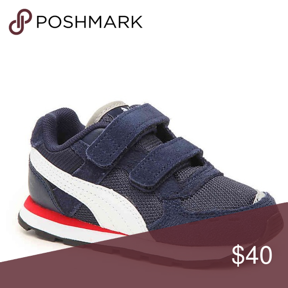 Puma Vista Red White And Blue Toddler Sneakers Navy Blue Puma Shoes Sneakers In 2020 Blue Puma Shoes Toddler Sneakers Sneakers