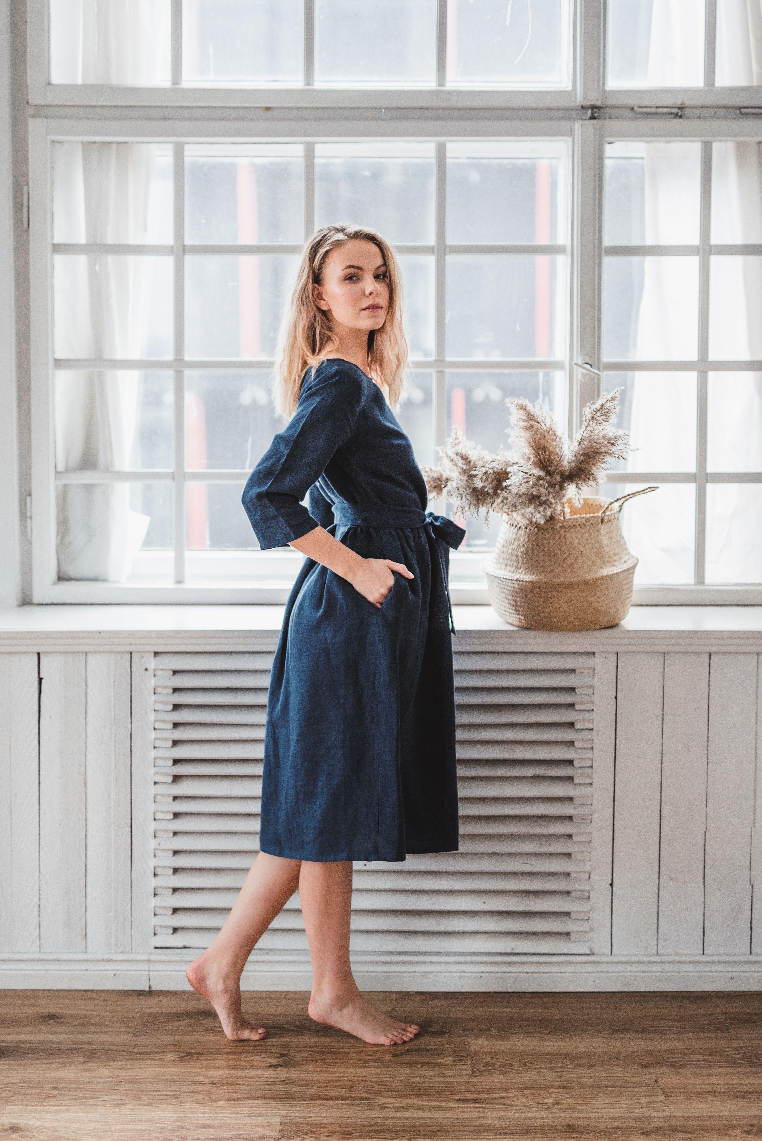 Summer Linen Dress Natural color Linen Dress Soft Organic Linen Dress.