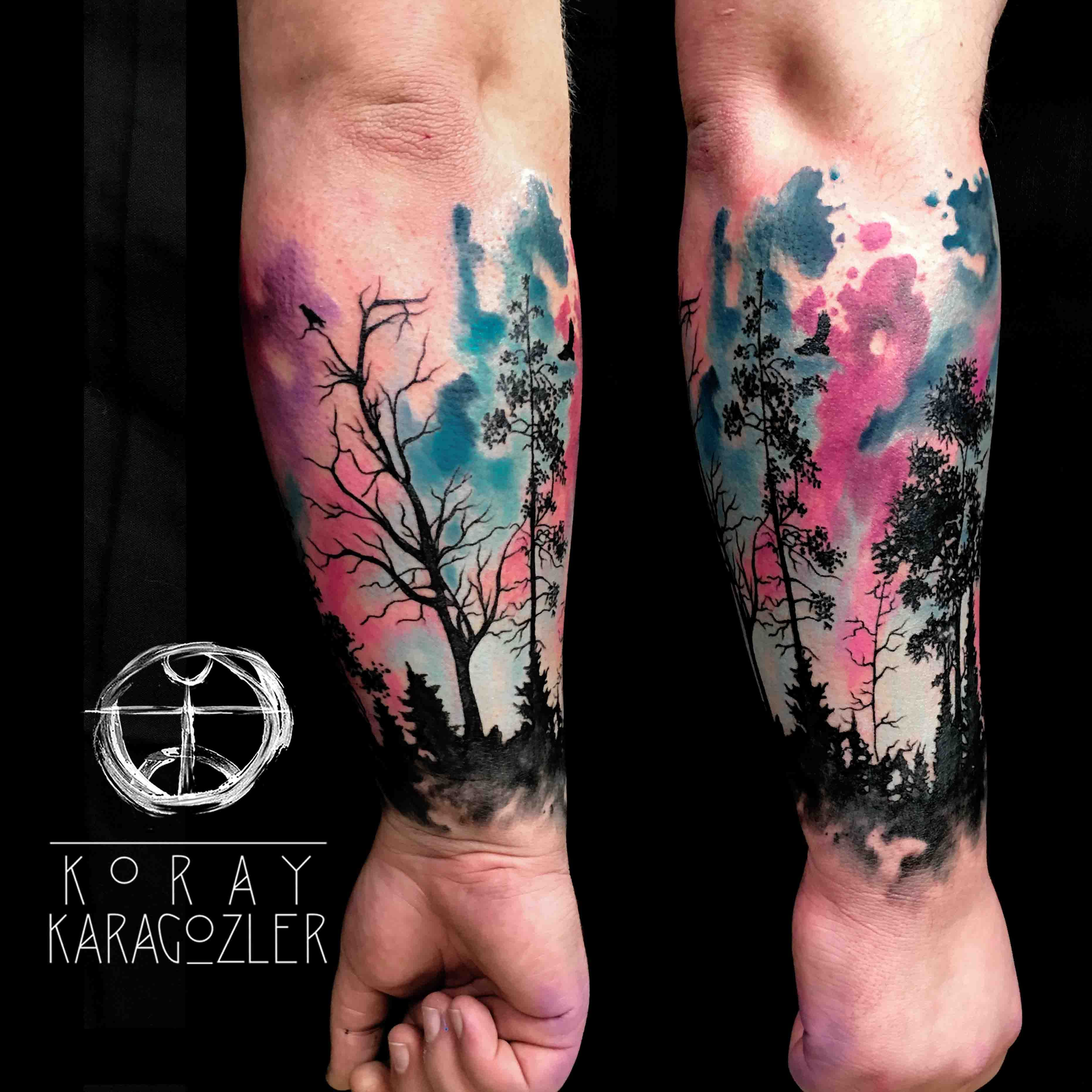 Watercolor Forest Abstract Forest Tattoo Watercolortattoo Abstracttattoo Foresttattoo Tree Treetattoo Armtattoo Ne Tattoos Ink Tattoo Trendy Tattoos