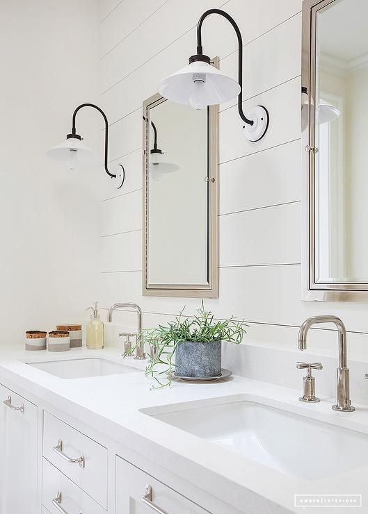 Bathroom Lights Restoration Hardware black and white gooseneck bath sconces stand out against white