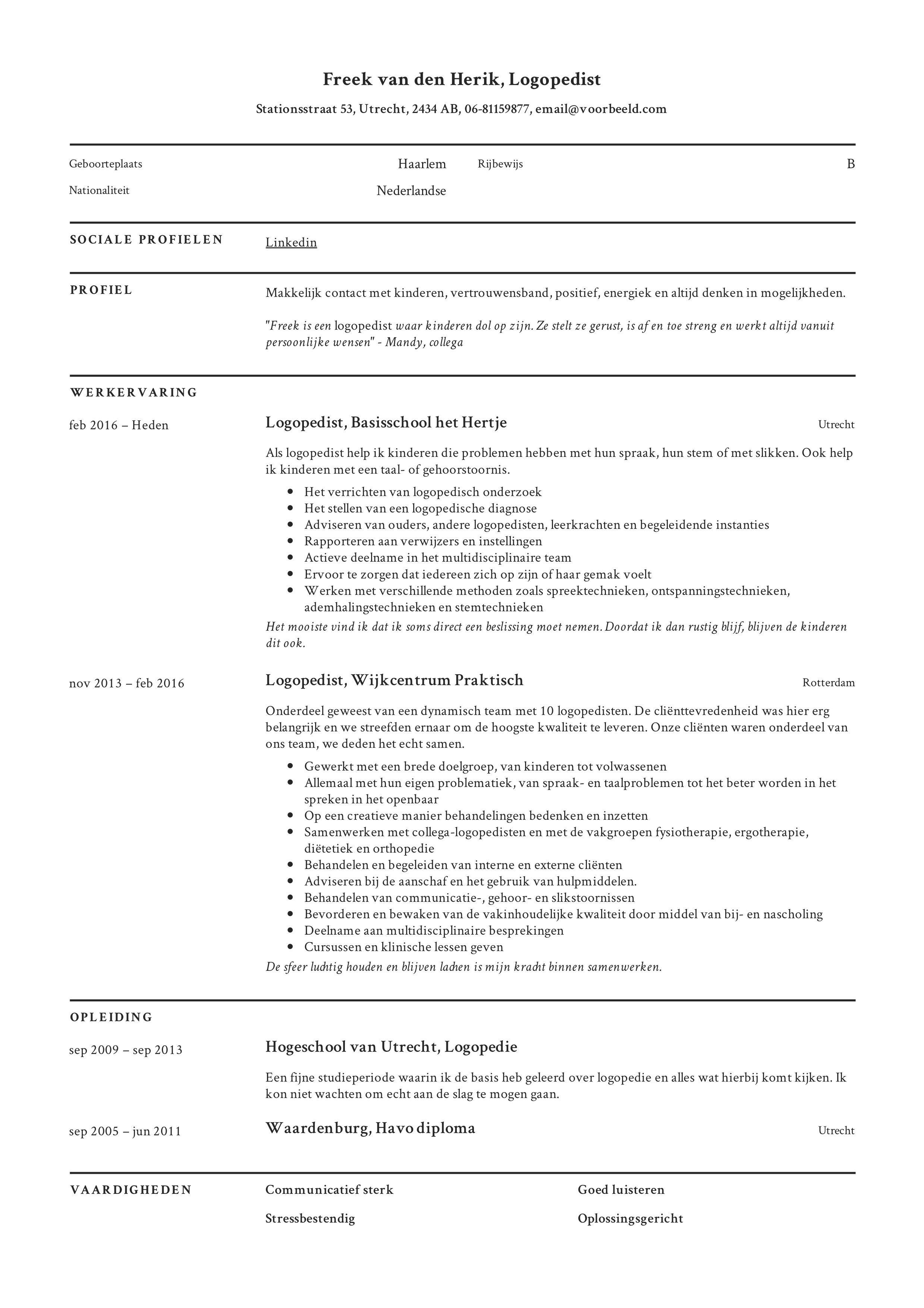 Het CV maken CV Logopedist (+ Voorbeelden in 2020