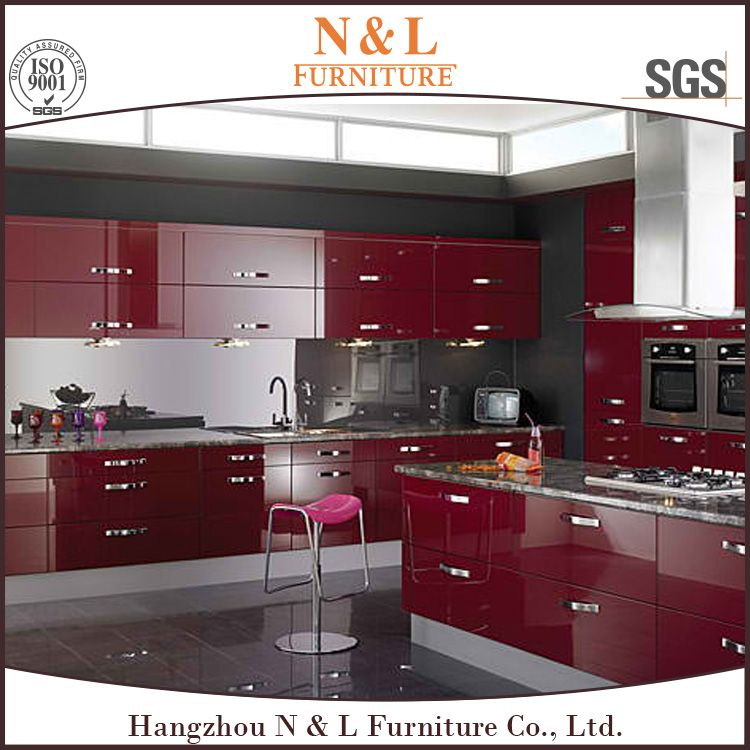 Red Lacquer Modern Kitchen Cabinet
