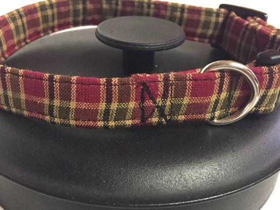 Dog collar plaid dog collar red dog collar fall by DazzleDoggieCo