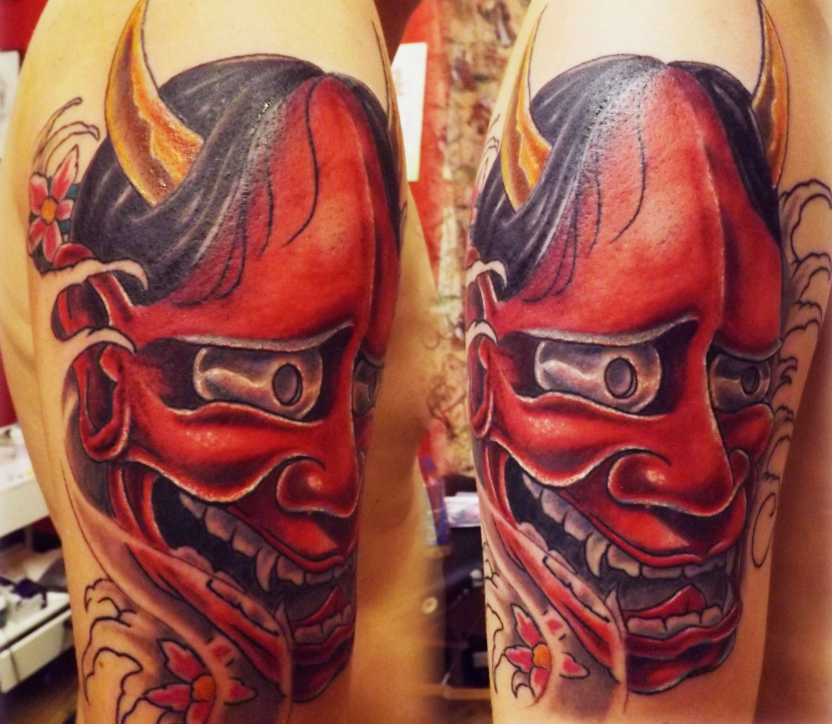 Hannya mask tattoo Hannya mask tattoo, Bone tattoos, Tattoos