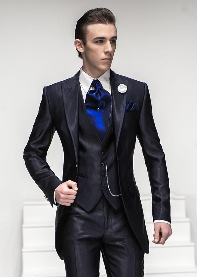 2015- Nice Suit One button Navy Blue Peaked Lapel Groom Tuxedos ...