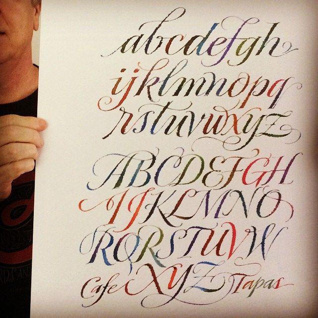 My colorful ruling pen alphabet as a larger print. | Caligrafía ...