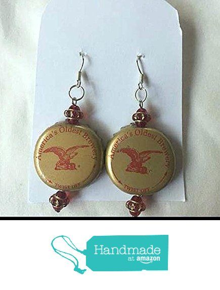 Anheuser Busch Gold Red and Saucer Bead Upcycled Bottlecap Earrings from Southern Women Crafts https://www.amazon.com/dp/B01GVYQZRU/ref=hnd_sw_r_pi_dp_ru6Ixb4KP6R4H #handmadeatamazon