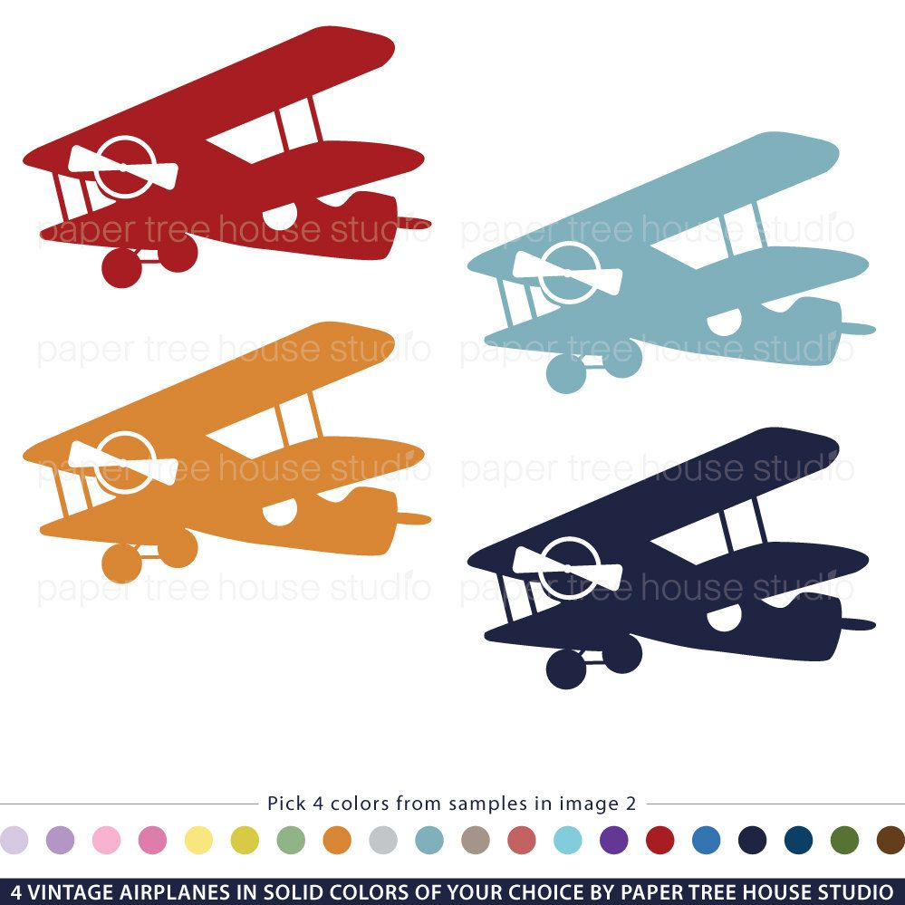 Airplane Birthday Party Get Ready For Takeoff: Vintage Airplane Clip Art Customized With Your Choice Of