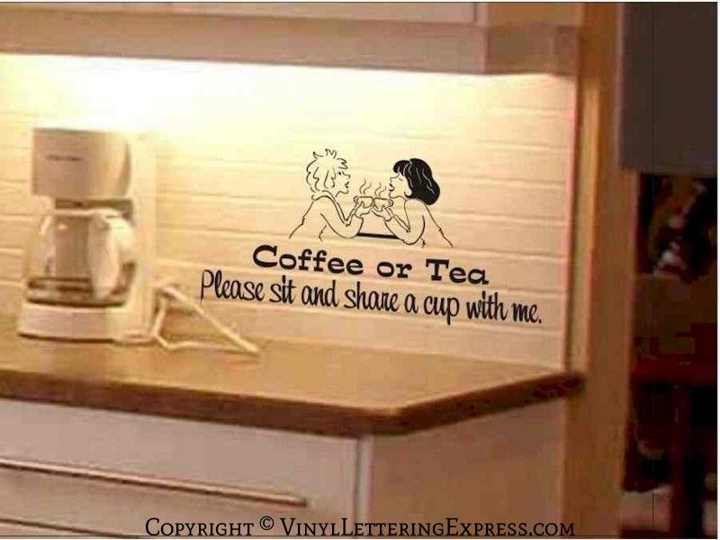 Cartoon Women Coffee Tea Picture On Backsplash In Vinyl Lettering - Custom vinyl wall decals for kitchen backsplash