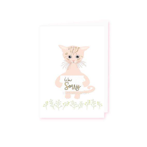 Printable Apologies Card / Im Sorry Card / Cute Cat Card…