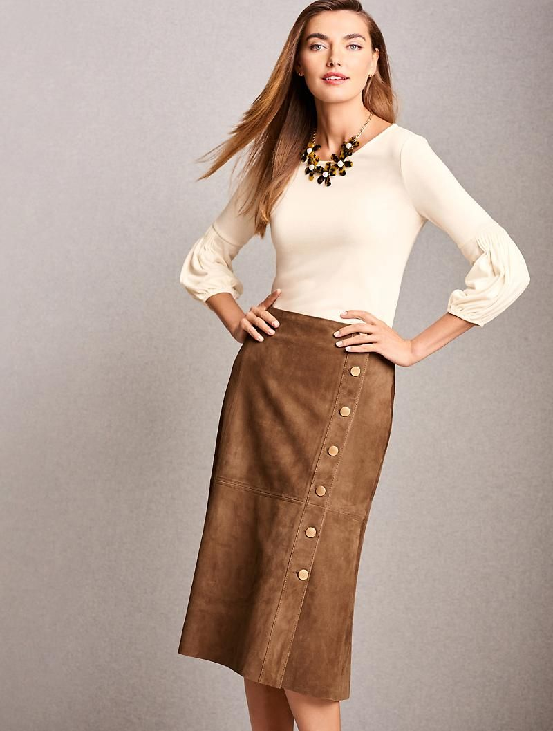 99b9a628cd Suede Gold-Button Skirt   Classic Clothes   Button skirt, Skirts ...
