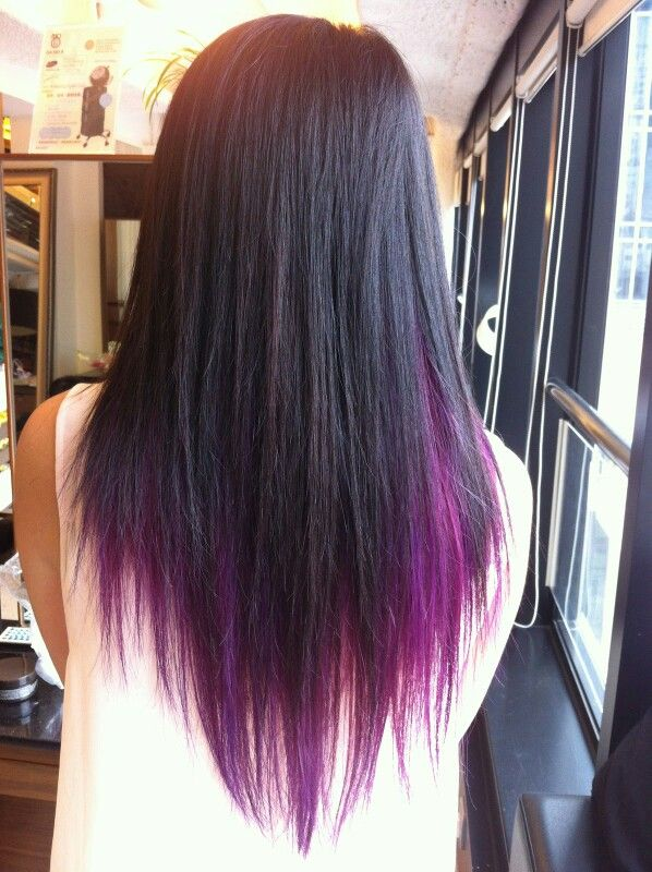 Black Hair With Purple Underneath And On The Ends Purple Underneath Hair Underlights Hair Purple Brown Hair