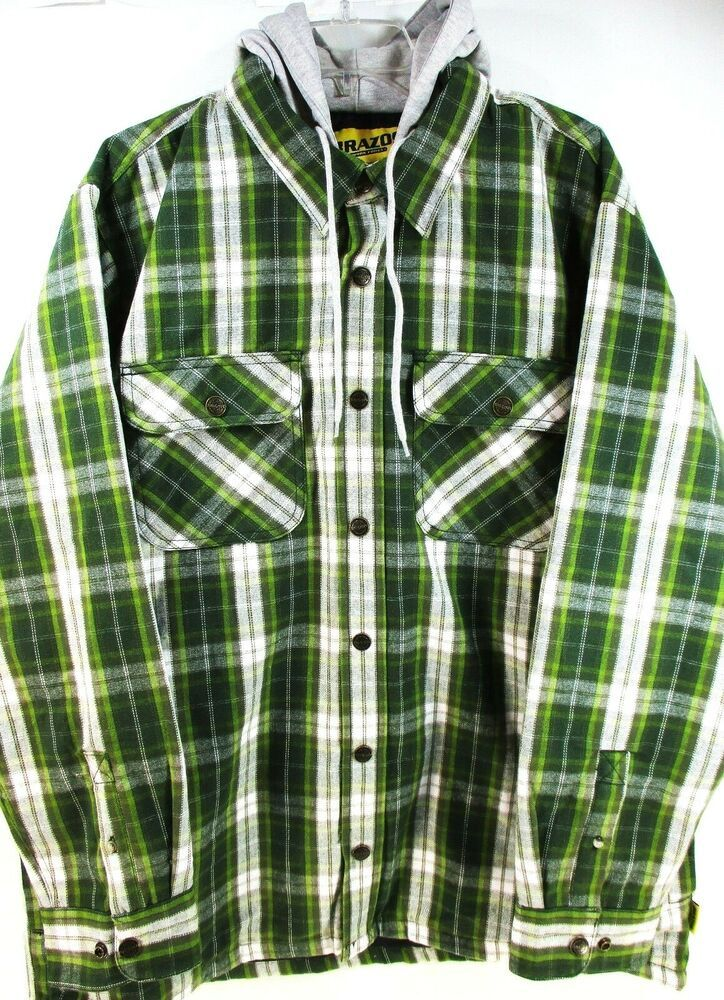 brazos men work wear shirt size xl green white quilted on men s insulated coveralls with hood id=53702