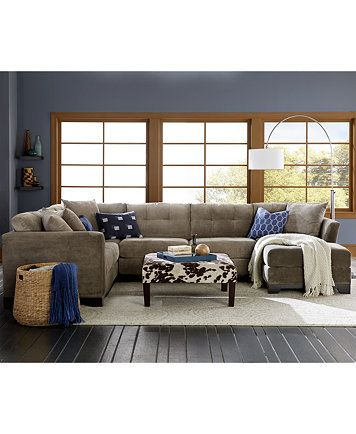 elliot fabric microfiber 3-piece chaise sectional sofa | sectional