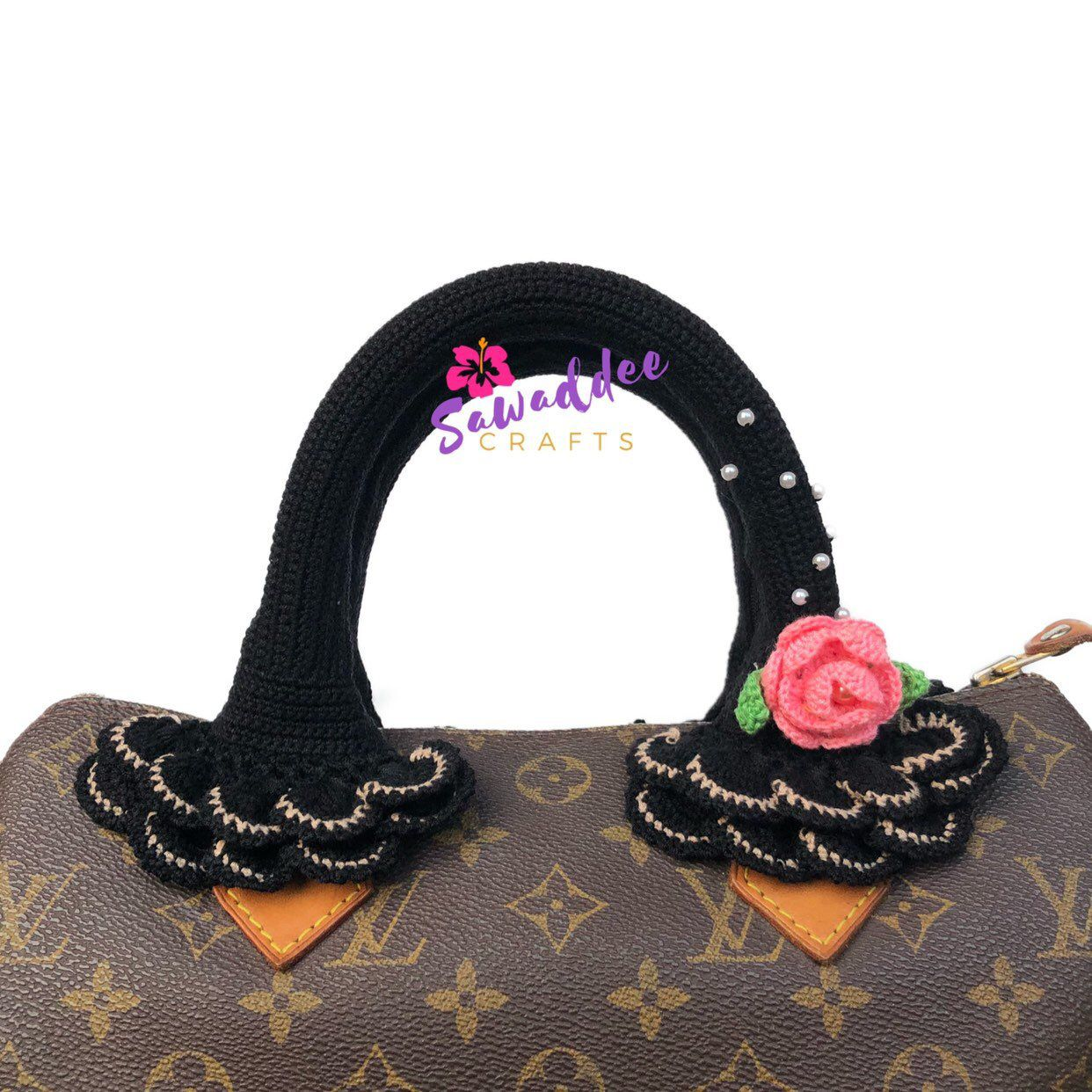 5245e81c9ada ... this item from my  etsy shop  Free Shipping Black Handmade Crochet Bag  Handle Cover Protector with Pink Rose for LV Louis Vuitton Speedy 25-30-35