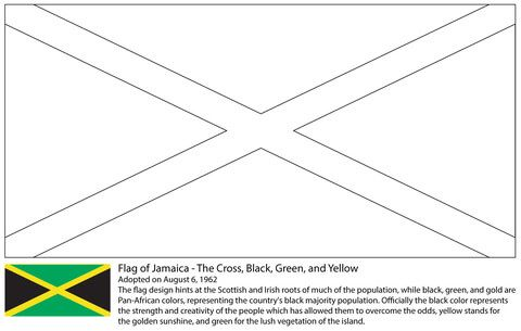 Flag Of Jamaica Coloring Page From Central America And Caribbean