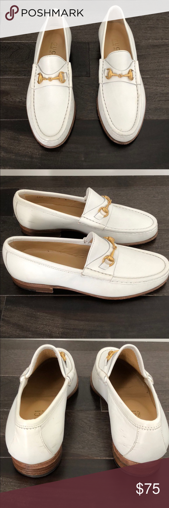 dc05d20f9 Vintage Gucci Leather Horse-bit Loafers Women's Vintage GUCCI White Leather  Loafers with Brushed Gold Horsebit Vamps. Classics. Women's Size 5 B. Heel  3/4 ...