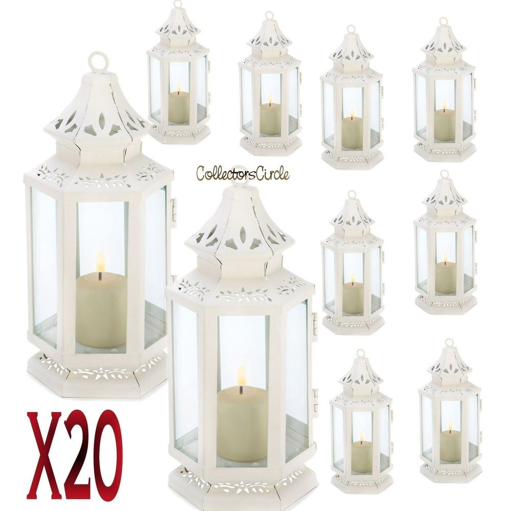 Lot of 20 White Small Victorian Candle Lantern Wedding Centerpieces ...