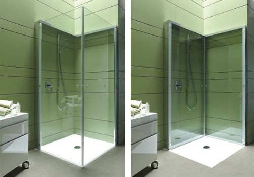 Folding Shower Enclosure By Duravit Offers Extra Openspace In Compact Bathroom Compact Bathroom Design Compact Bathroom Bathroom Space Saver