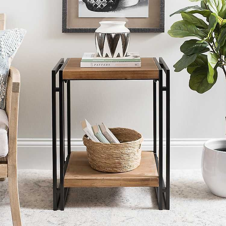 Modern Wood And Metal 2 Tier Side Table Accent Table Side Table Wood Side Table