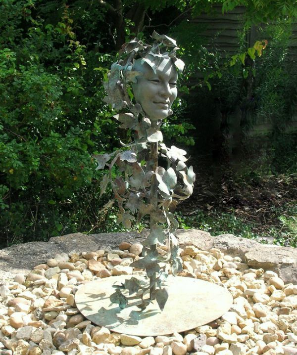 Bronze, beaten and welded copper Garden Or Yard / Outside and Outdoor sculpture by artist Sioban Coppinger titled: 'Poets Muse Too (bronze Girl`s Face in the Leaves sculpture statue Bust)'