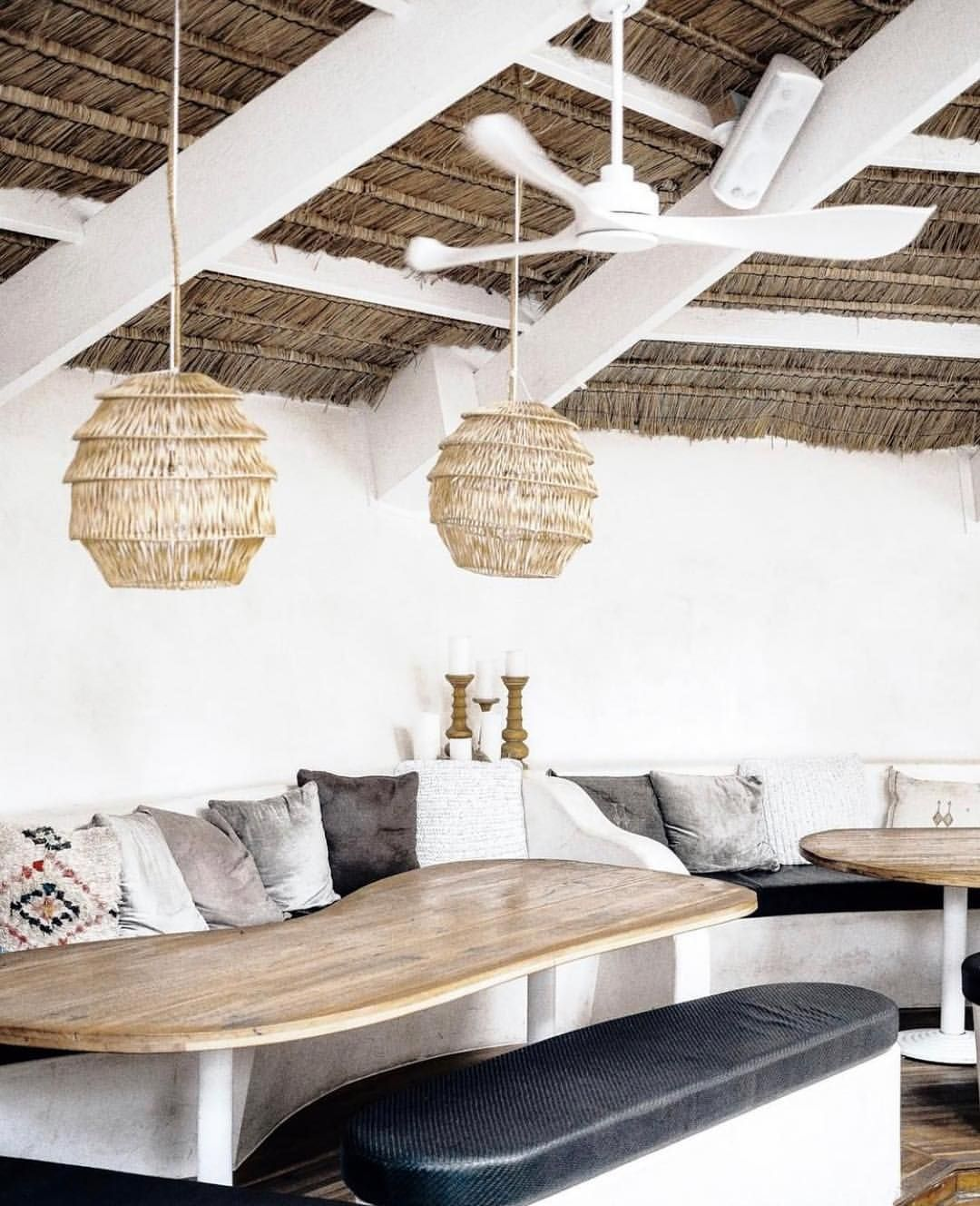 Fanatical About This Space Pun Intended Loving The Coastal Vibe At Themezclub In Australia S Byron Bay The Rustic Thatch In 2020 Thatched Roof New Homes Thatch
