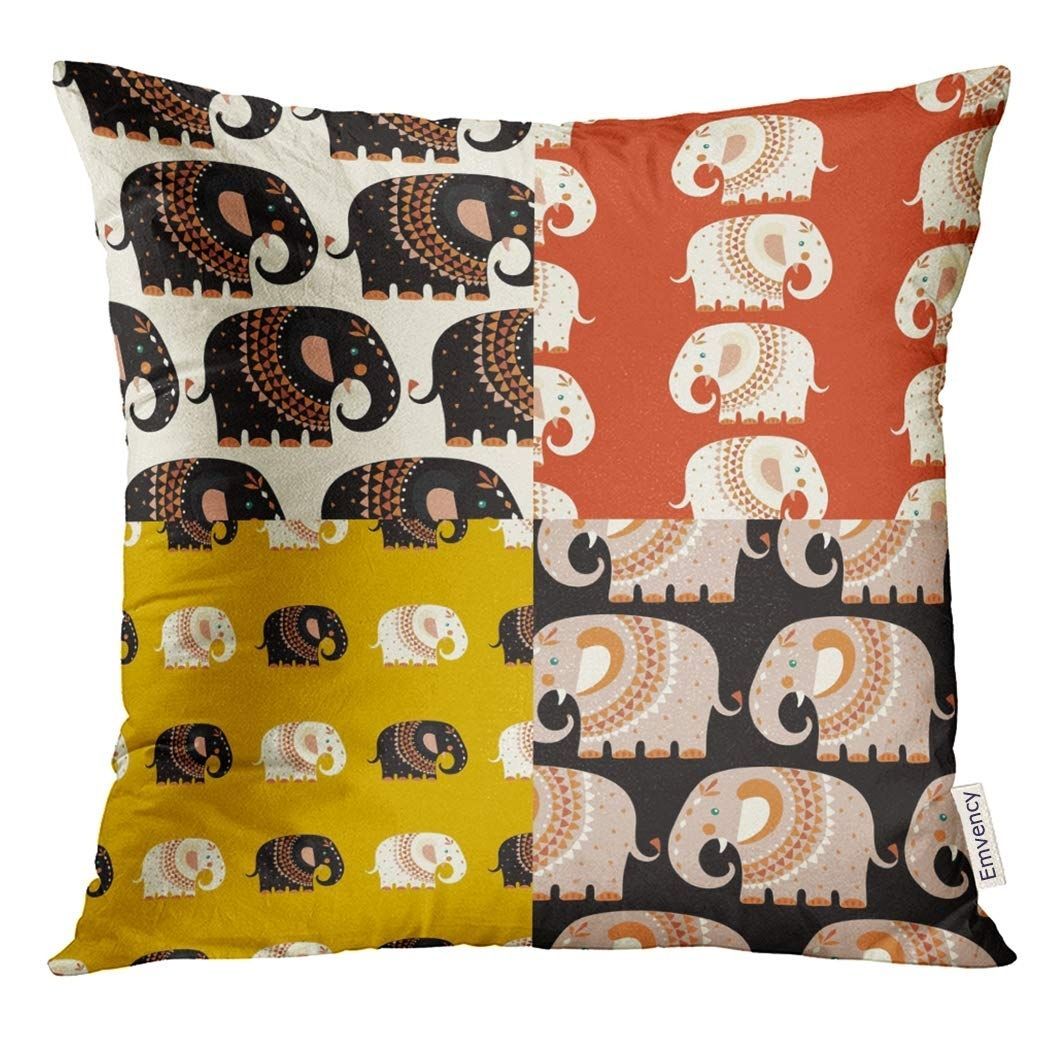 Colorful Africa Elephant Patterns Orange Animal Pillow Case 18x18 Inches