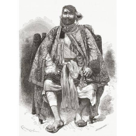 Rana Bhagwant Singh 1823 To 1873 Jat Ruler Of Dholpur State From 1836 To 1873 In Rajasthan India From El Mundo En La Mano Published 1878 Canvas Art - Ken Welsh Design Pics (12 x 17)