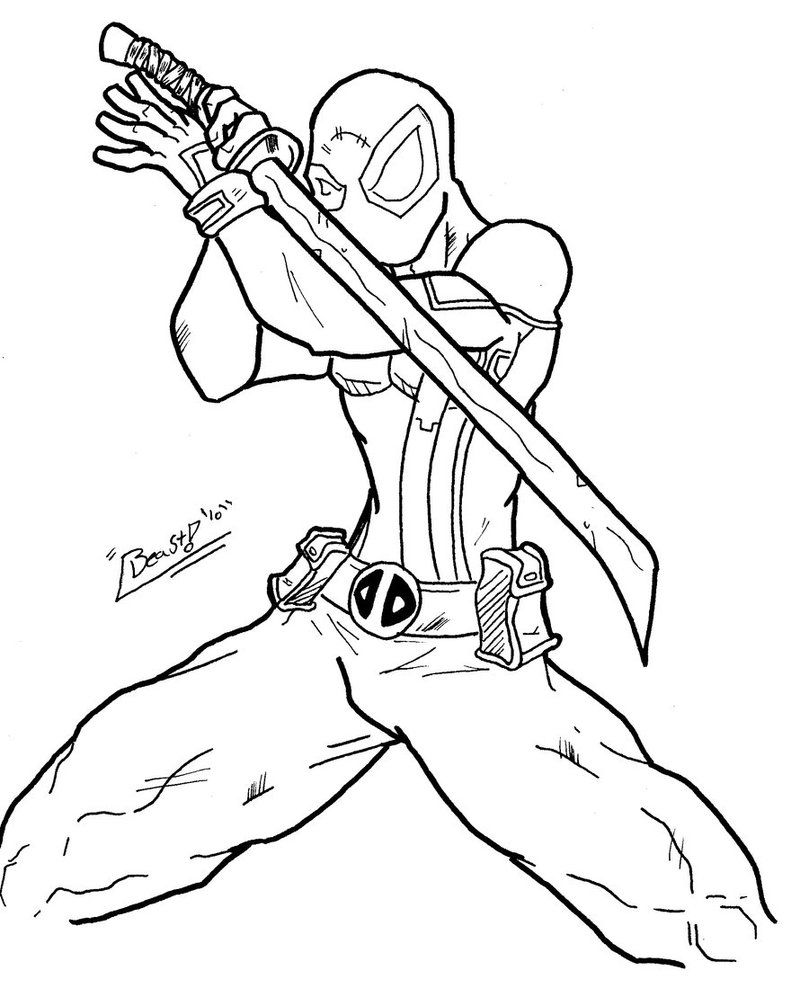 Free Printable Deadpool Coloring Pages For Kids | Pinterest