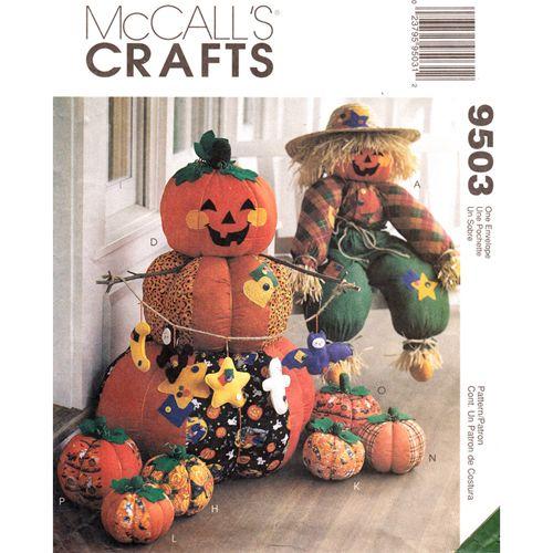 McCall\u0027s 9503 Halloween Decor Pattern Scarecrow Pumpkins Bat Cat - menards halloween decorations