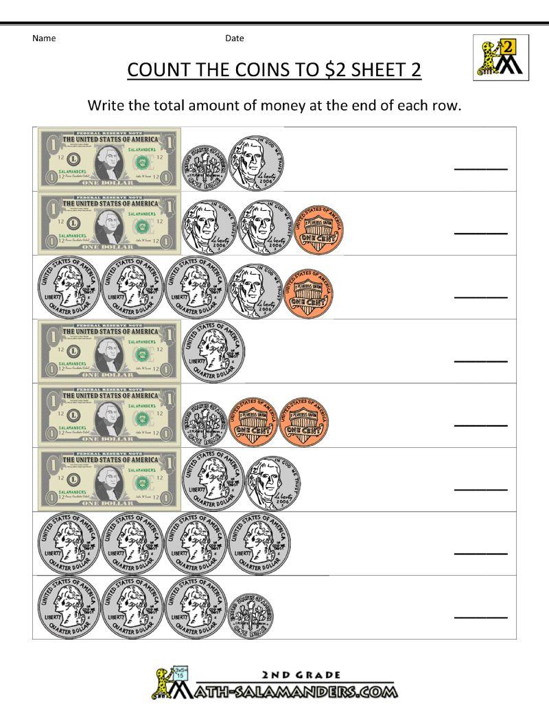 Second Math Money Math Worksheets Money Math