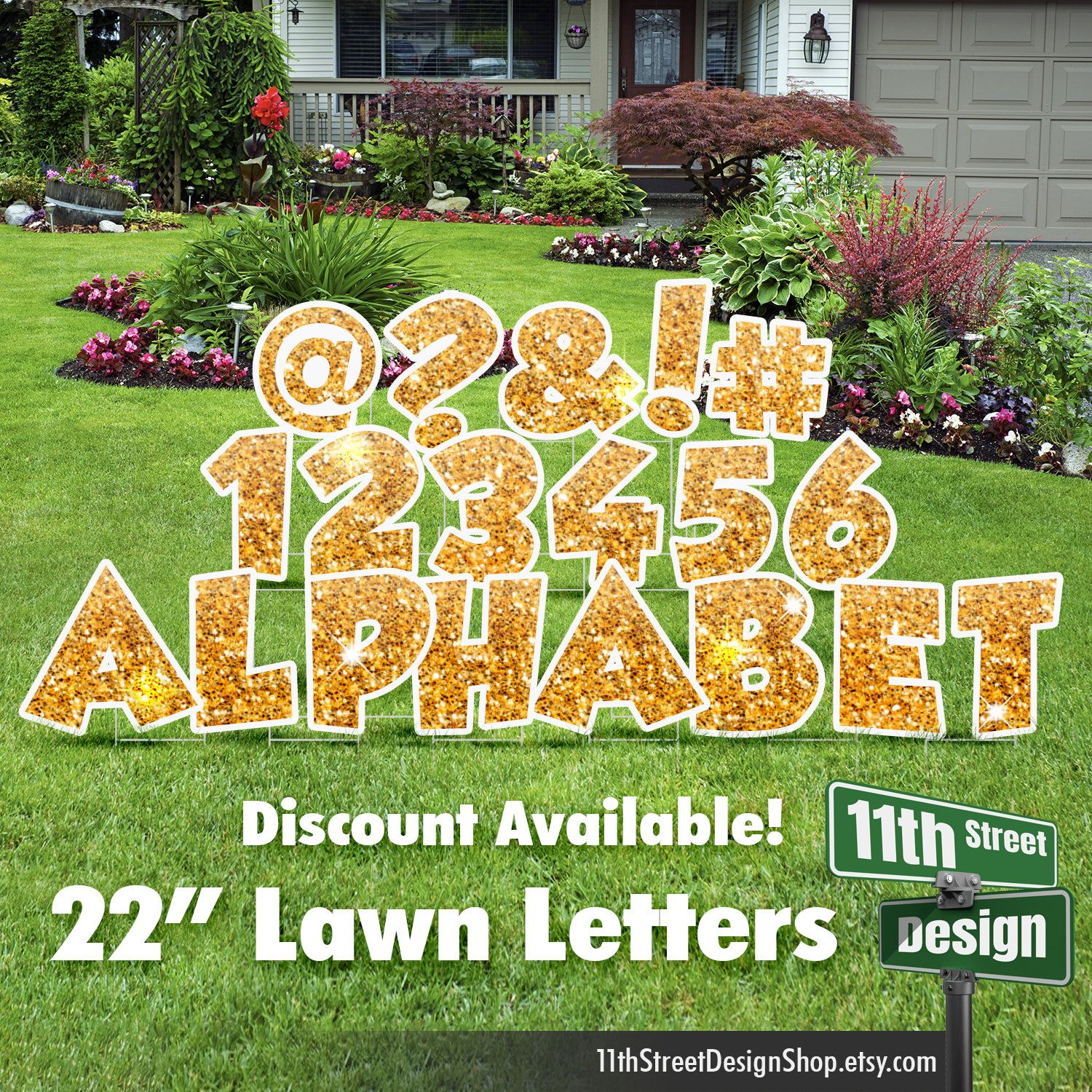 22 Gold Sparkle Lawn Letter Yard Signs 22 Chunky Etsy Yard Cards Yard Signs Happy Birthday Yard Signs