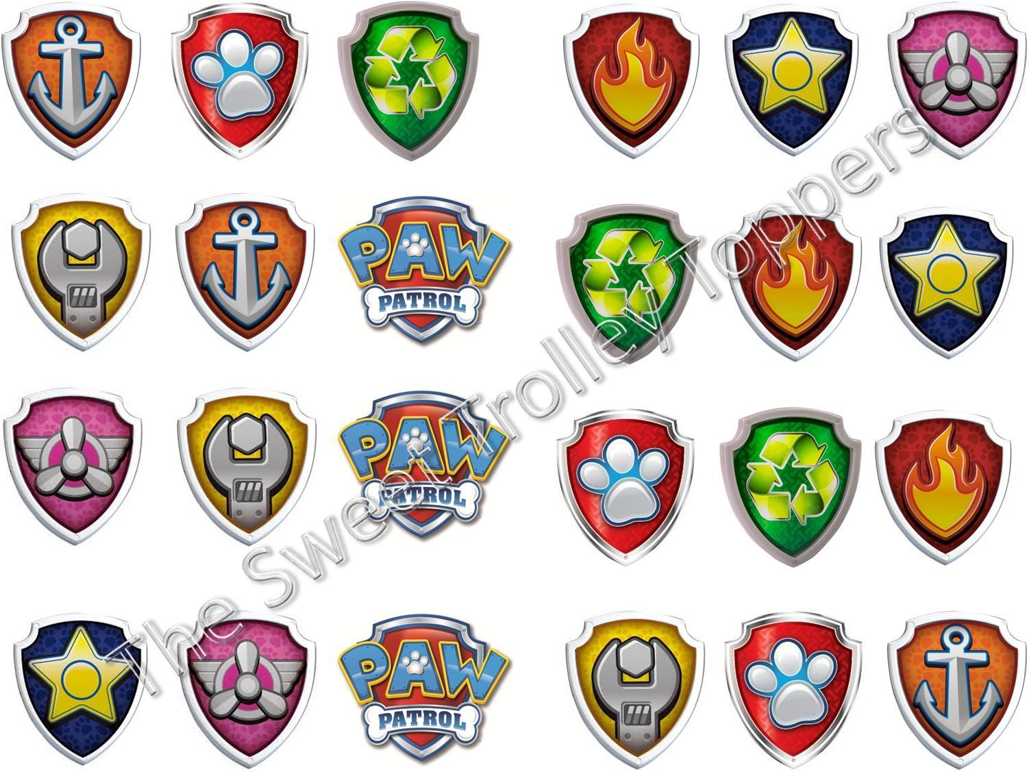 24 Paw Patrol Logo Shield Badge Edible Rice Paper Birthday Cup Cake Toppers