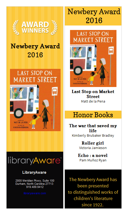 weve created some great flyers and bookmarks in libraryaware for the 2016 award winners heres a sample of our bookmark for the 2016 newbery awards