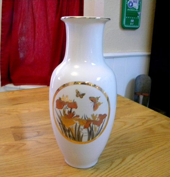 Chokin Art Vase Large Urn Shape Butterfly By Treasuresfromtexas
