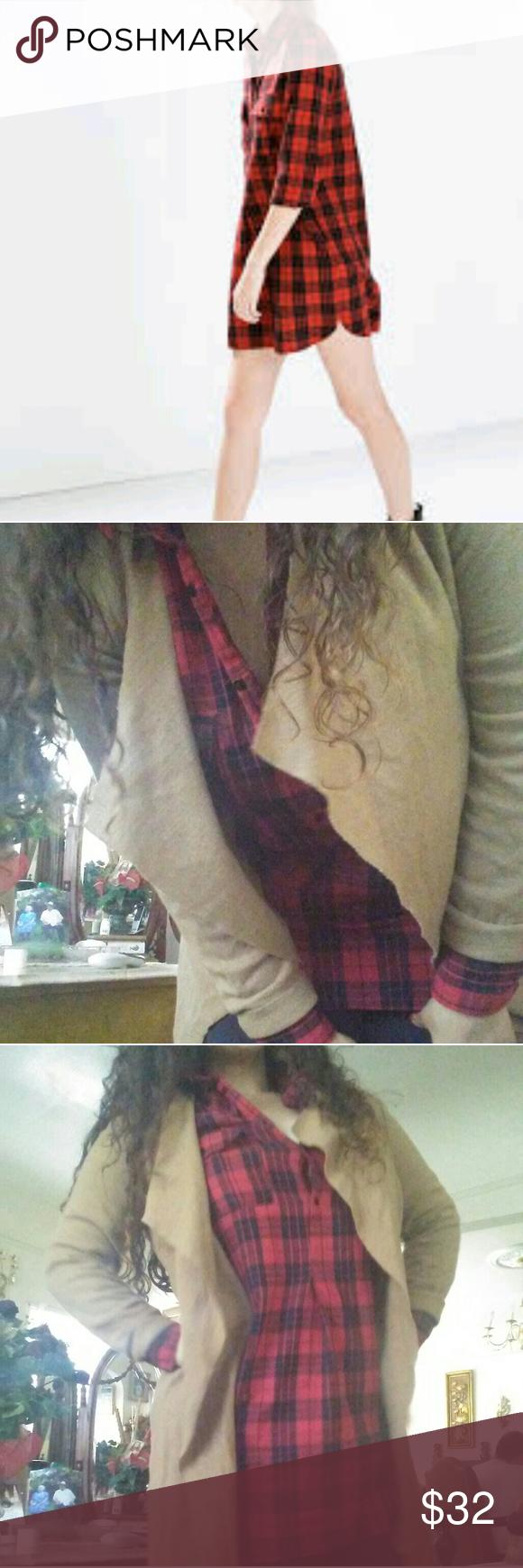 Zara flannel shirt mens  Zara Red Plaid Shirt Dress No flaws worn x max Zara Dresses Mini