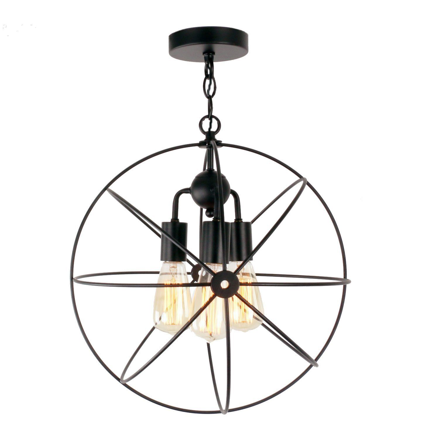 unitary brand antique black metal cage globe semi flush mount ceiling light with 3 e26 bulb